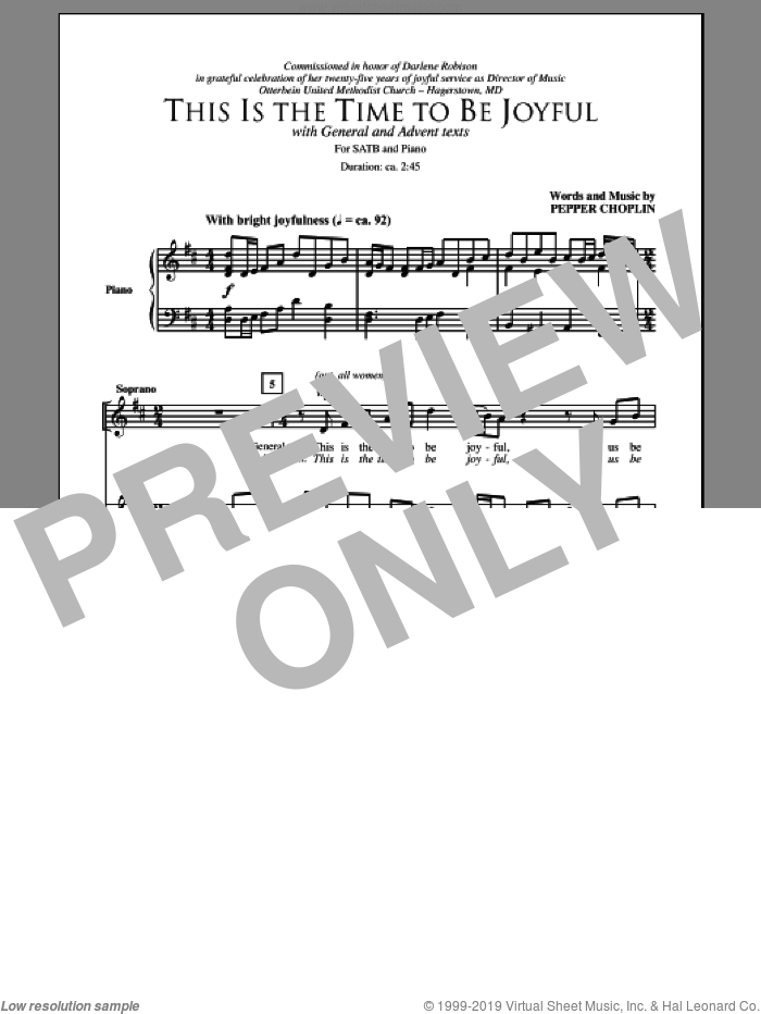 This Is The Time To Be Joyful sheet music for choir and piano (SATB) by Pepper Choplin. Score Image Preview.
