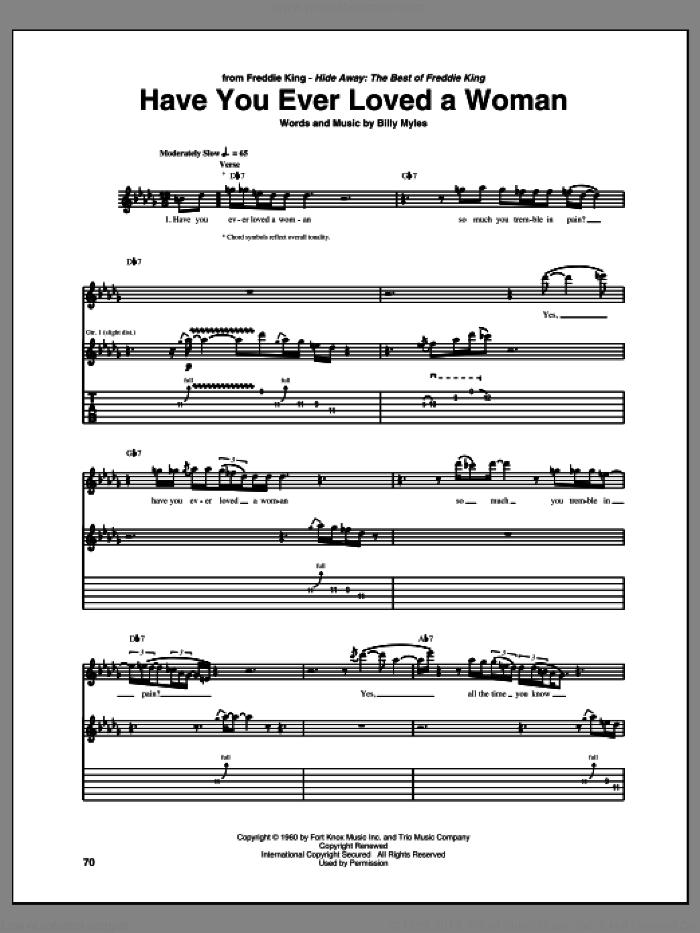 Have You Ever Loved A Woman sheet music for guitar (tablature) by Freddie King, Billy Myles and Eric Clapton, intermediate