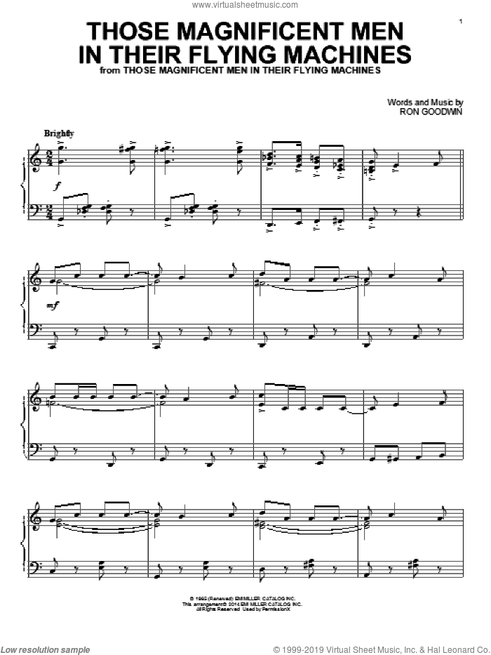 Those Magnificent Men In Their Flying Machines sheet music for piano solo by Ron Goodwin. Score Image Preview.