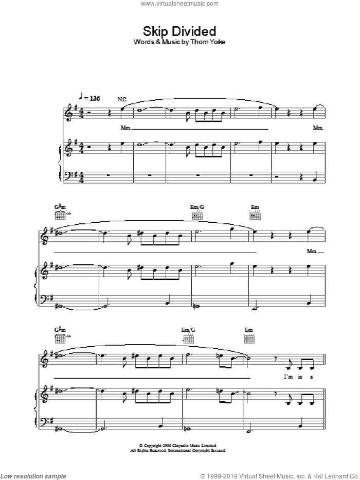 Skip Divided sheet music for voice, piano or guitar by Thom Yorke. Score Image Preview.