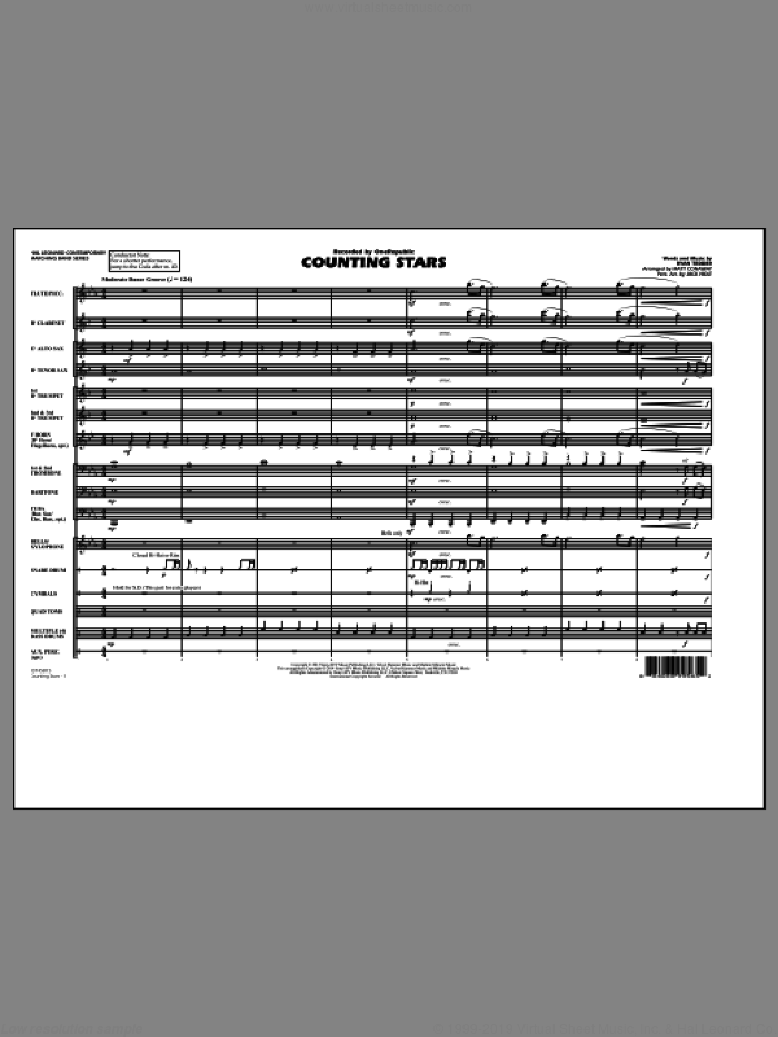 Conaway - Counting Stars sheet music (complete collection) for marching band
