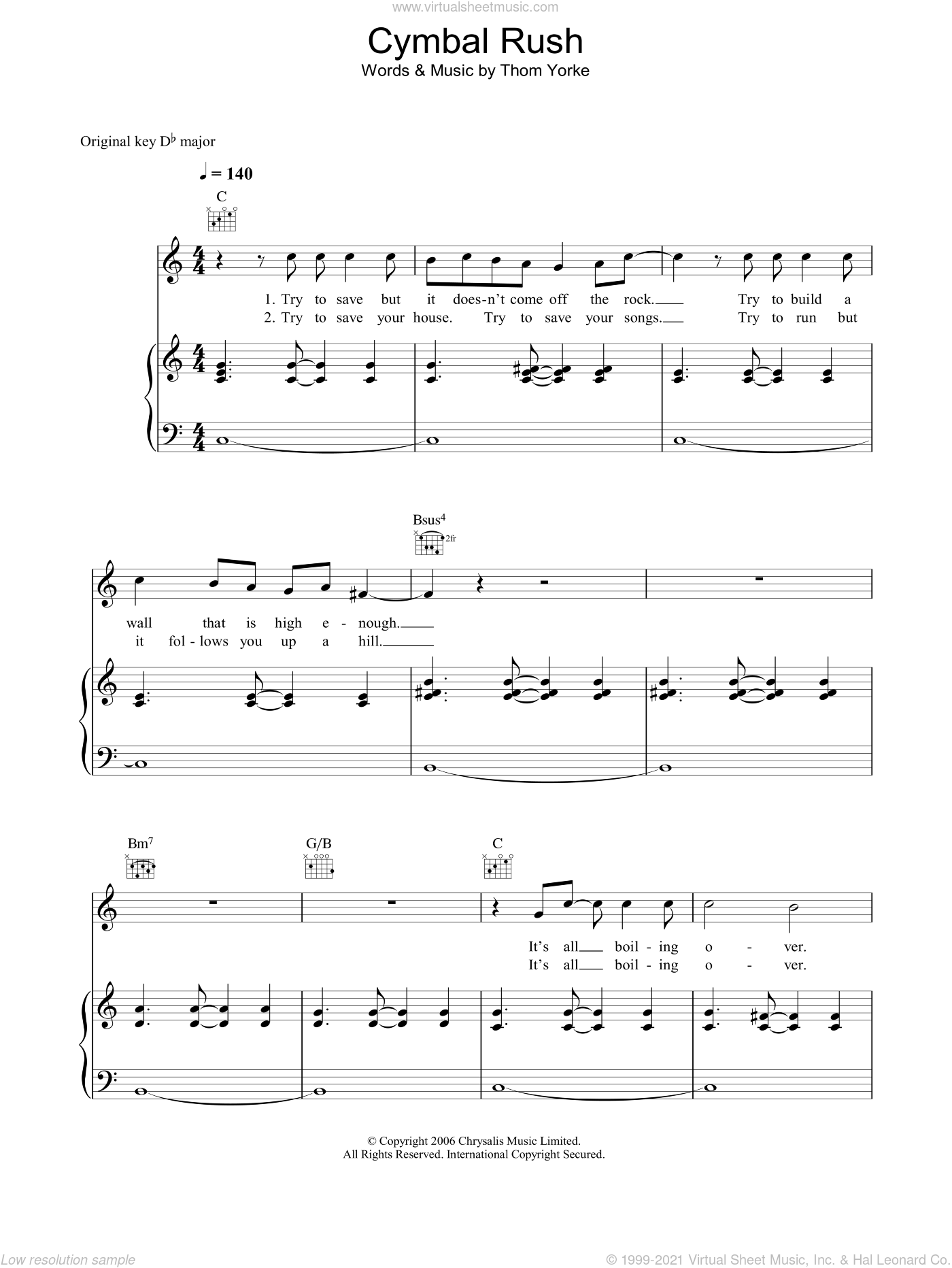 Cymbal Rush sheet music for voice, piano or guitar by Thom Yorke. Score Image Preview.