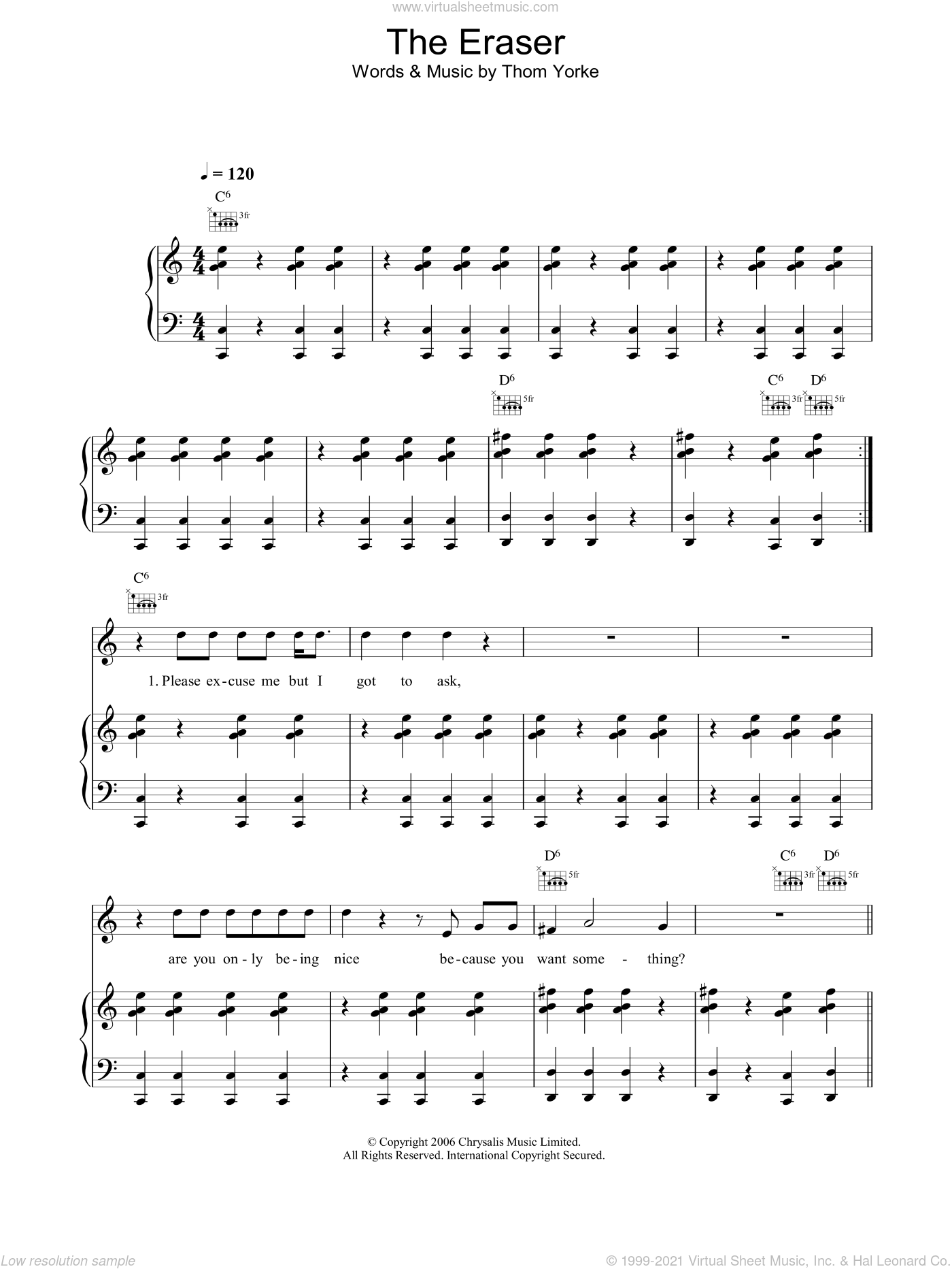 The Eraser sheet music for voice, piano or guitar by Thom Yorke