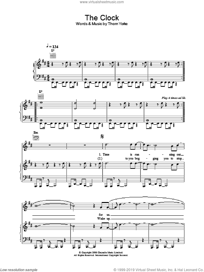 The Clock sheet music for voice, piano or guitar by Thom Yorke. Score Image Preview.
