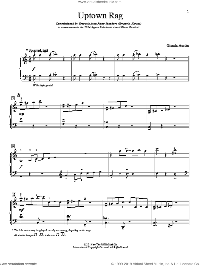 Uptown Rag sheet music for piano solo (elementary) by Glenda Austin. Score Image Preview.