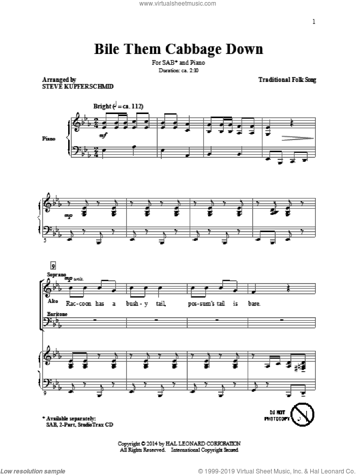 Boil Them Cabbage Down sheet music for choir (SAB: soprano, alto, bass) by Steve Kupferschmid, intermediate skill level
