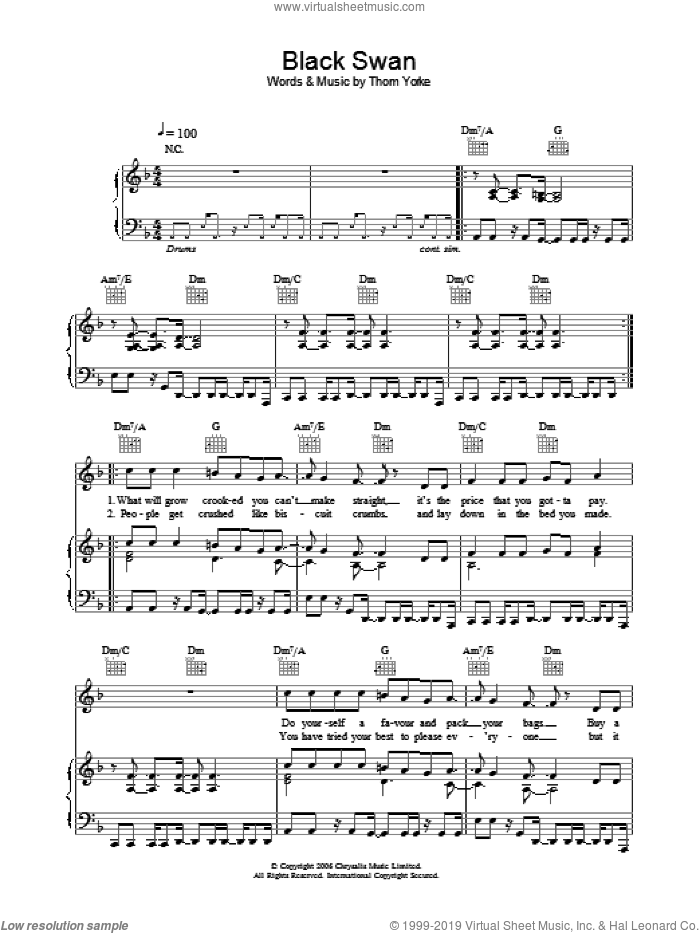 Black Swan sheet music for voice, piano or guitar by Thom Yorke. Score Image Preview.