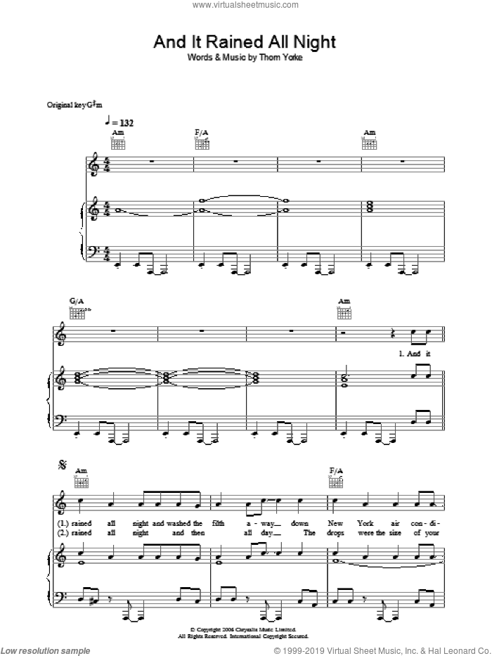 And It Rained All Night sheet music for voice, piano or guitar by Thom Yorke, intermediate voice, piano or guitar. Score Image Preview.