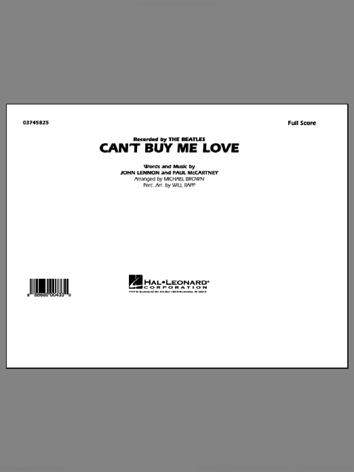 Can't Buy Me Love (COMPLETE) sheet music for marching band by The Beatles, John Lennon, Michael Brown, Paul McCartney and Will Rapp, intermediate. Score Image Preview.