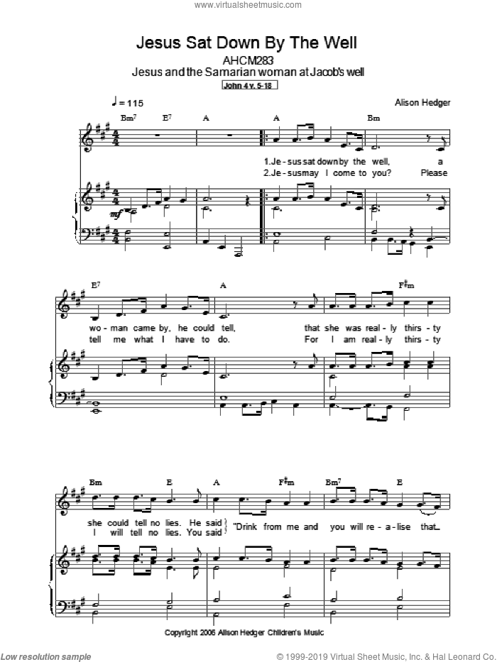 Jesus Sat Down By The Well sheet music for voice, piano or guitar by Alison Hedger. Score Image Preview.