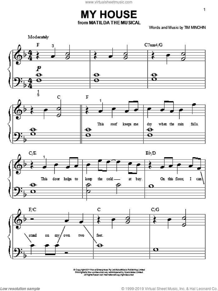 My House sheet music for piano solo (big note book) by Tim Minchin