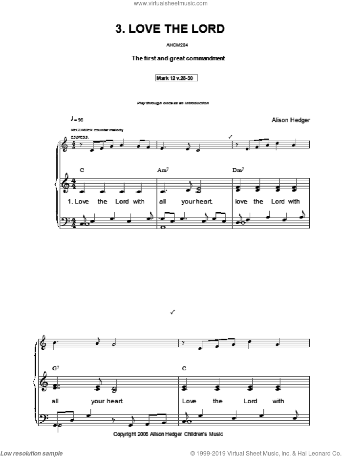 Love The Lord sheet music for voice, piano or guitar by Alison Hedger, intermediate skill level