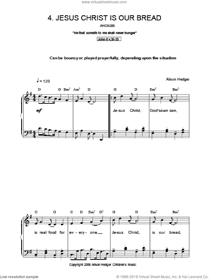 Jesus Christ Is Our Bread sheet music for voice, piano or guitar by Alison Hedger, intermediate voice, piano or guitar. Score Image Preview.