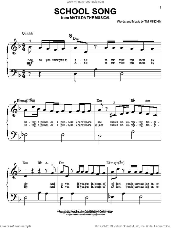 School Song sheet music for piano solo (big note book) by Tim Minchin