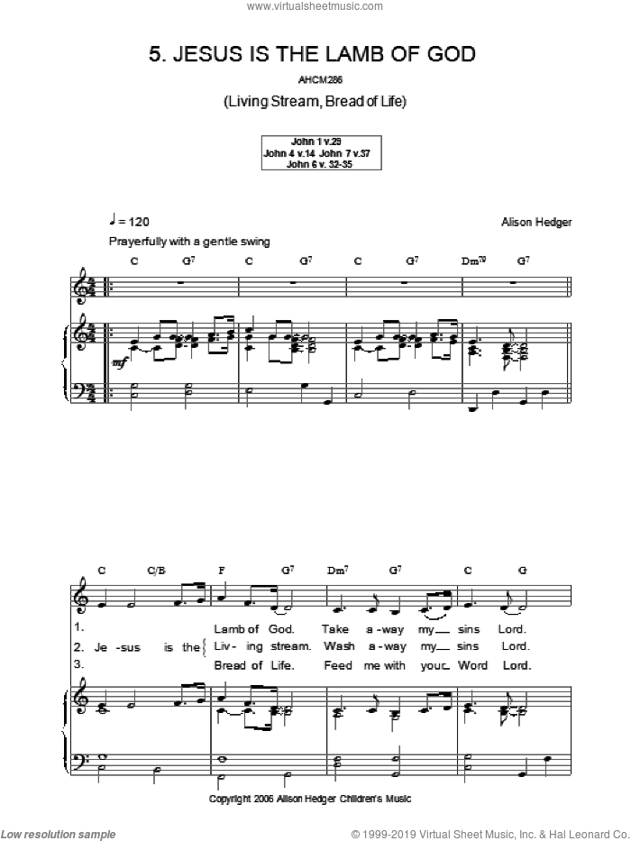 Jesus Is The Lamb Of God sheet music for voice, piano or guitar by Alison Hedger, intermediate. Score Image Preview.