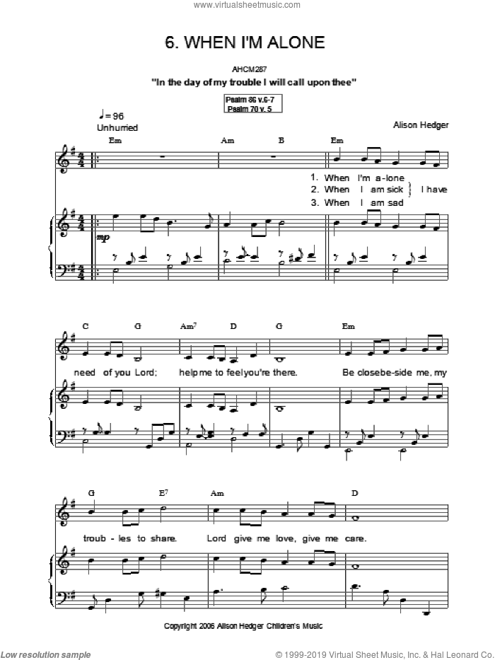 When I'm Alone sheet music for voice, piano or guitar by Alison Hedger, intermediate. Score Image Preview.