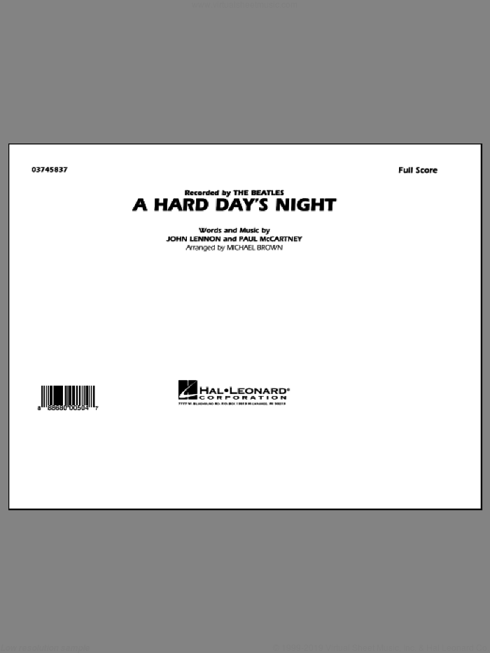 A Hard Day's Night (COMPLETE) sheet music for marching band by The Beatles, John Lennon, Michael Brown and Paul McCartney, intermediate skill level