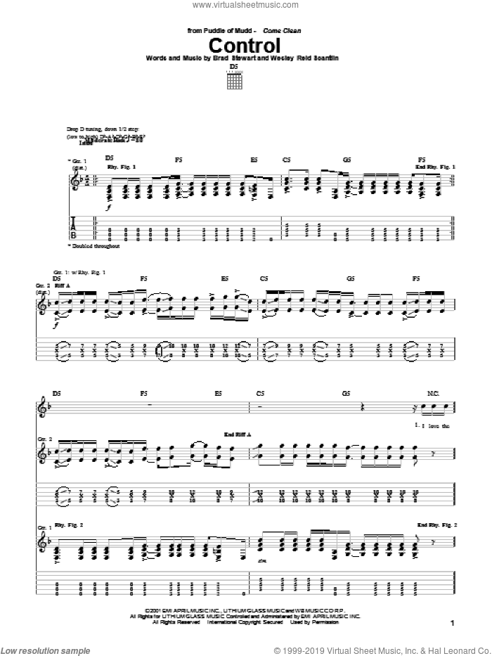 Control sheet music for guitar (tablature) by Puddle Of Mudd, Brad Stewart and Wes Scantlin, intermediate skill level