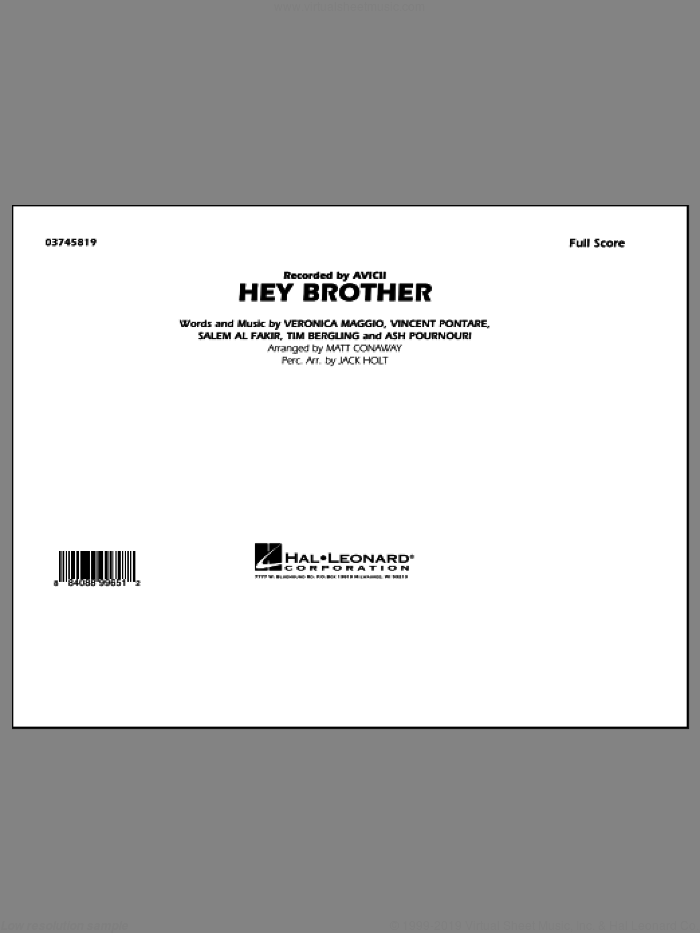 Hey Brother (COMPLETE) sheet music for marching band by Matt Conaway and Avicii, intermediate. Score Image Preview.