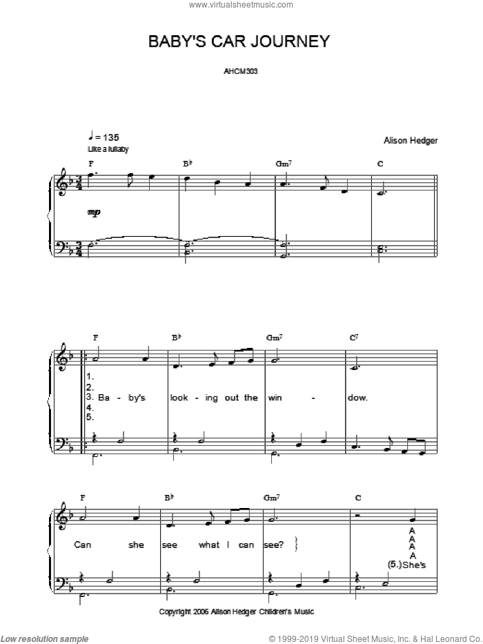 Baby's Car Journey sheet music for voice, piano or guitar by Alison Hedger. Score Image Preview.