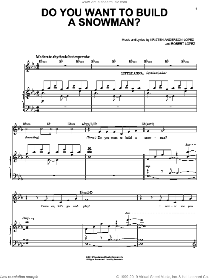 Do You Want To Build A Snowman? (from Disney's Frozen) sheet music for voice and piano by Kristen Bell, Agatha Lee Monn & Katie Lopez, Kristen Anderson-Lopez and Robert Lopez, intermediate skill level