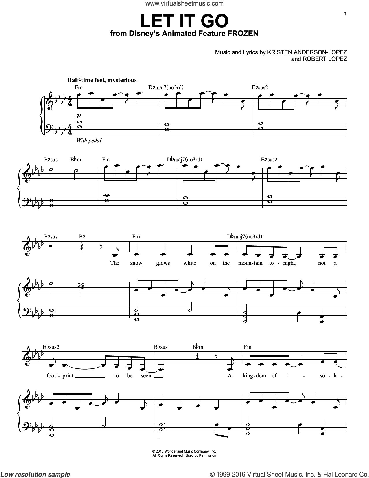 Let It Go (from Frozen) sheet music for voice and piano by Idina Menzel, Kristen Anderson-Lopez and Robert Lopez, intermediate. Score Image Preview.