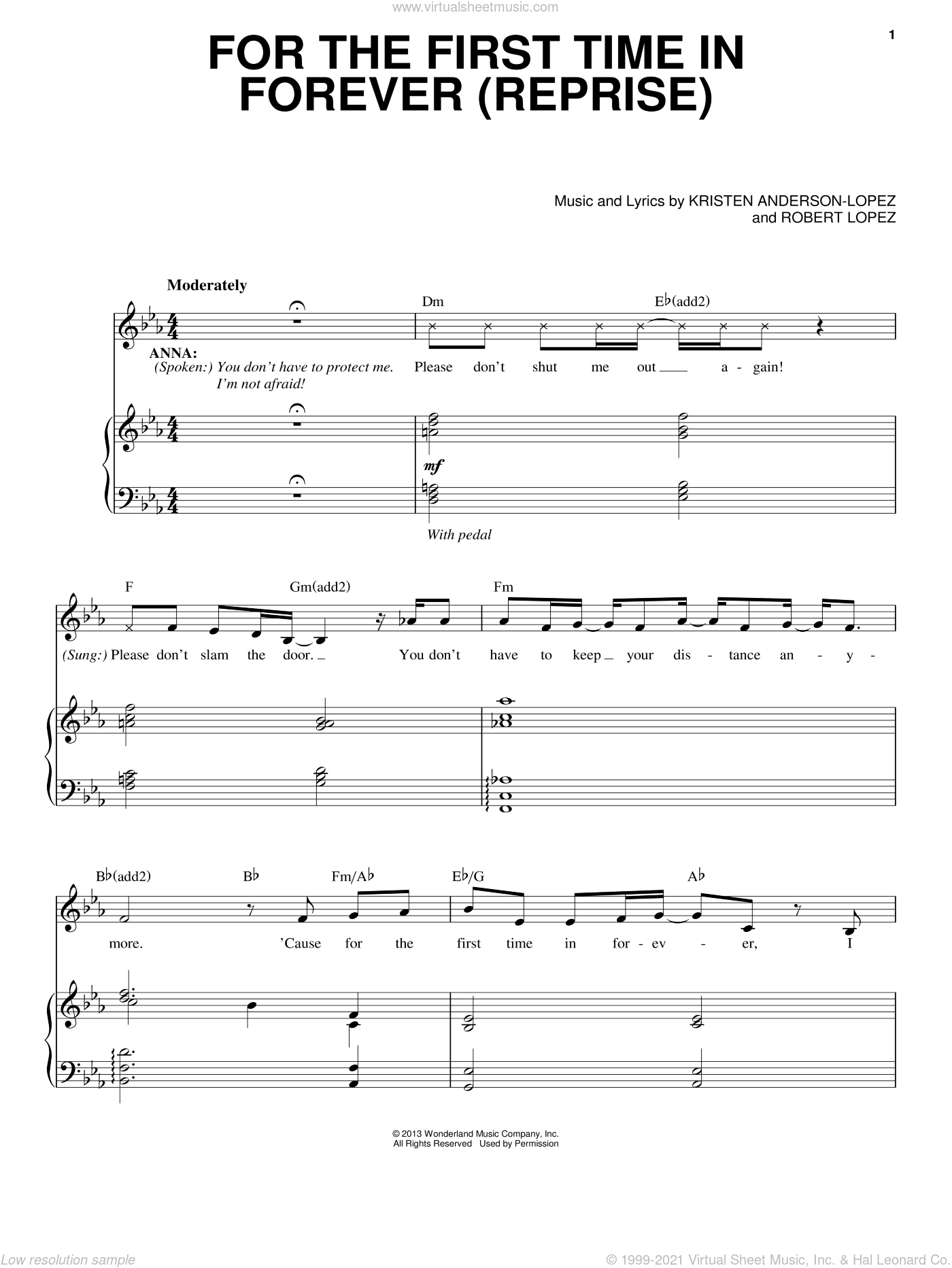 For The First Time In Forever (Reprise) (from Frozen) sheet music for voice and piano by Robert Lopez and Kristen Anderson-Lopez, intermediate skill level