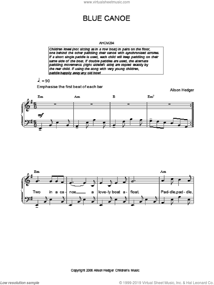Blue Canoe sheet music for voice, piano or guitar by Alison Hedger. Score Image Preview.