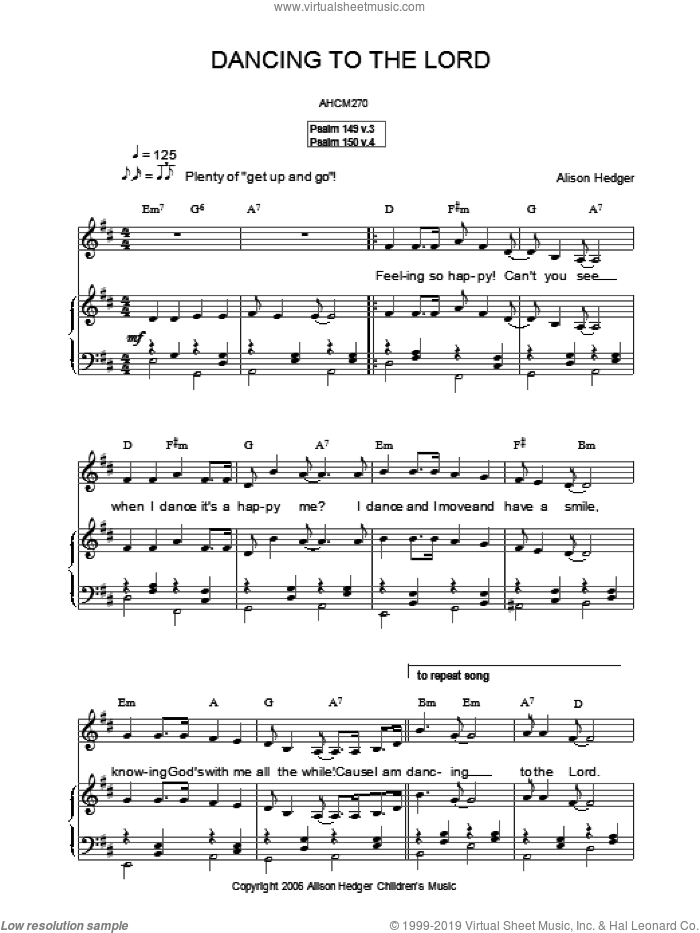 Dancing To The Lord sheet music for voice, piano or guitar by Alison Hedger
