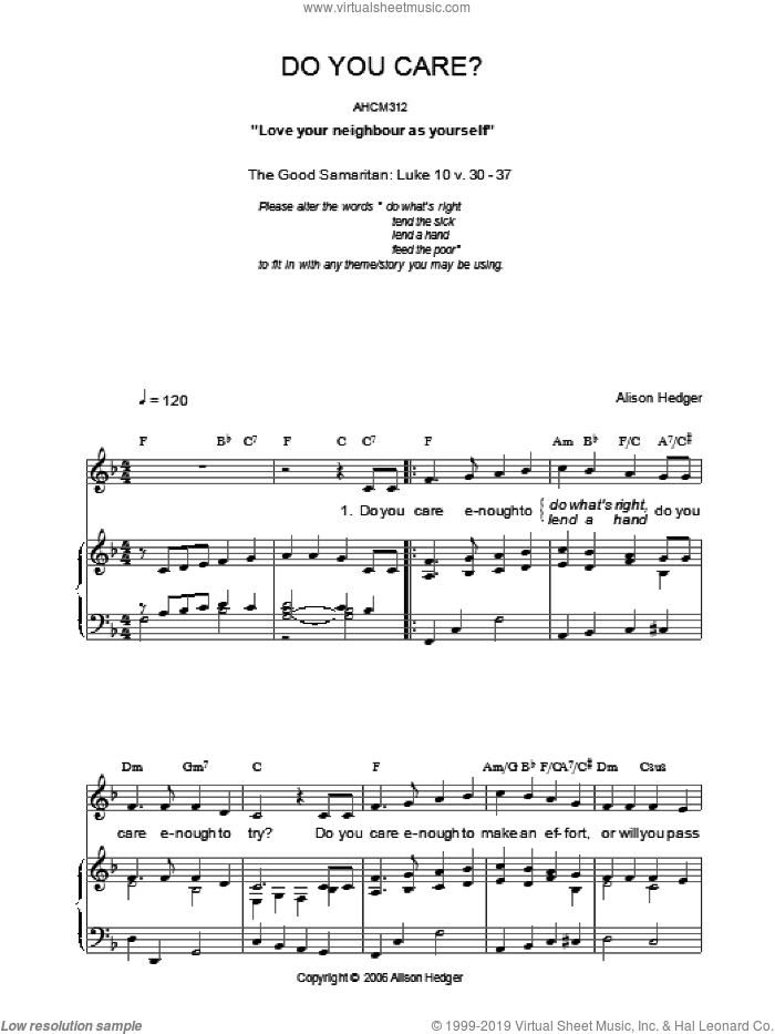 Do You Care? sheet music for voice, piano or guitar by Alison Hedger. Score Image Preview.