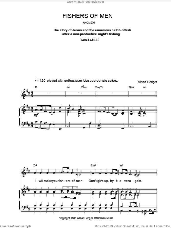 Fishers Of Men sheet music for voice, piano or guitar by Alison Hedger, intermediate. Score Image Preview.