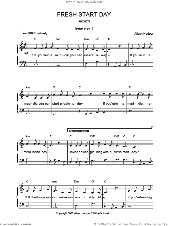 Fresh Start Day sheet music for voice, piano or guitar by Alison Hedger