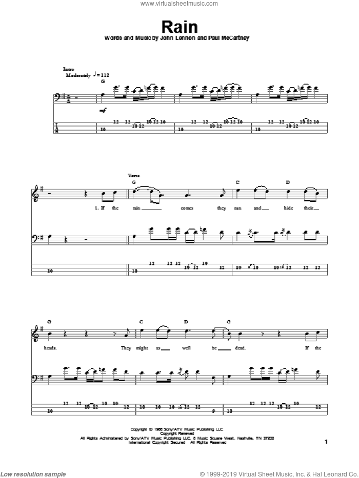 Rain sheet music for bass (tablature) (bass guitar) by John Lennon, Paul McCartney and The Beatles. Score Image Preview.
