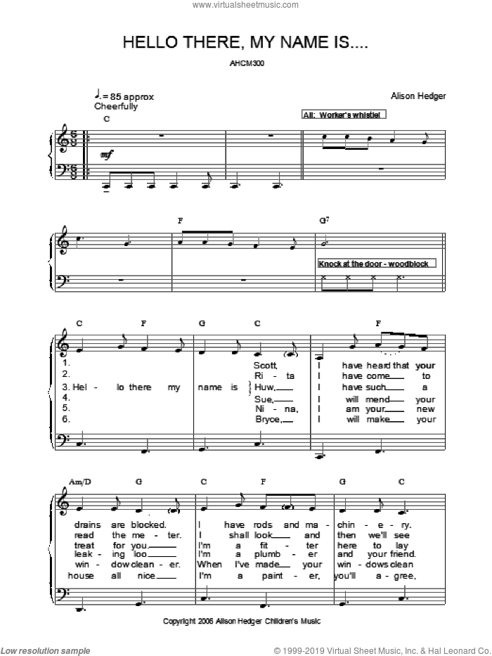 Hello There, My Name Is . . . sheet music for voice, piano or guitar by Alison Hedger. Score Image Preview.