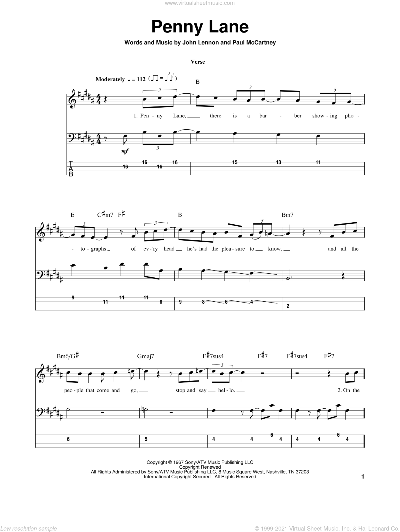 Penny Lane sheet music for bass (tablature) (bass guitar) by John Lennon, Paul McCartney and The Beatles. Score Image Preview.