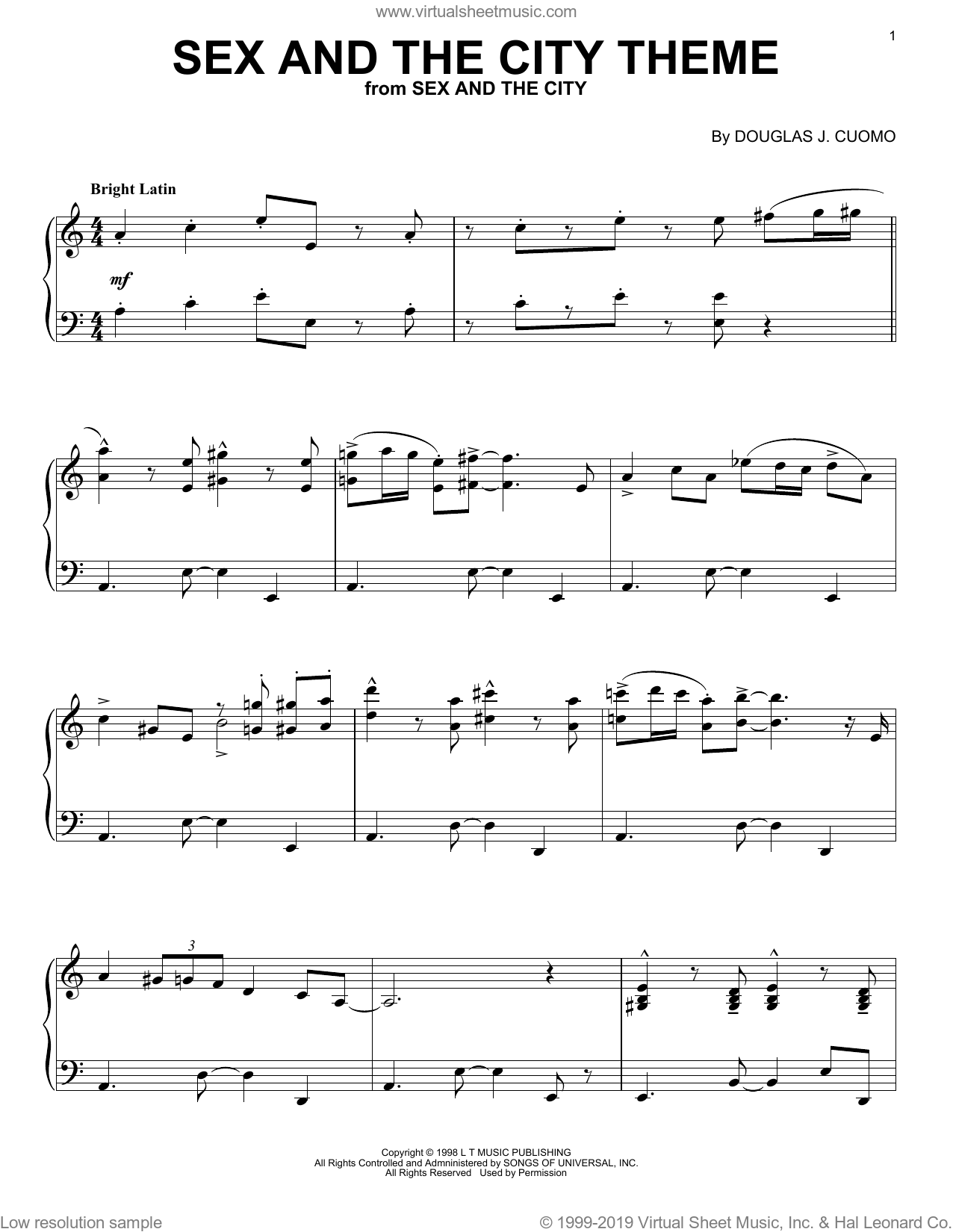 Sex And The City Theme sheet music for piano solo by Douglas Cuomo. Score Image Preview.