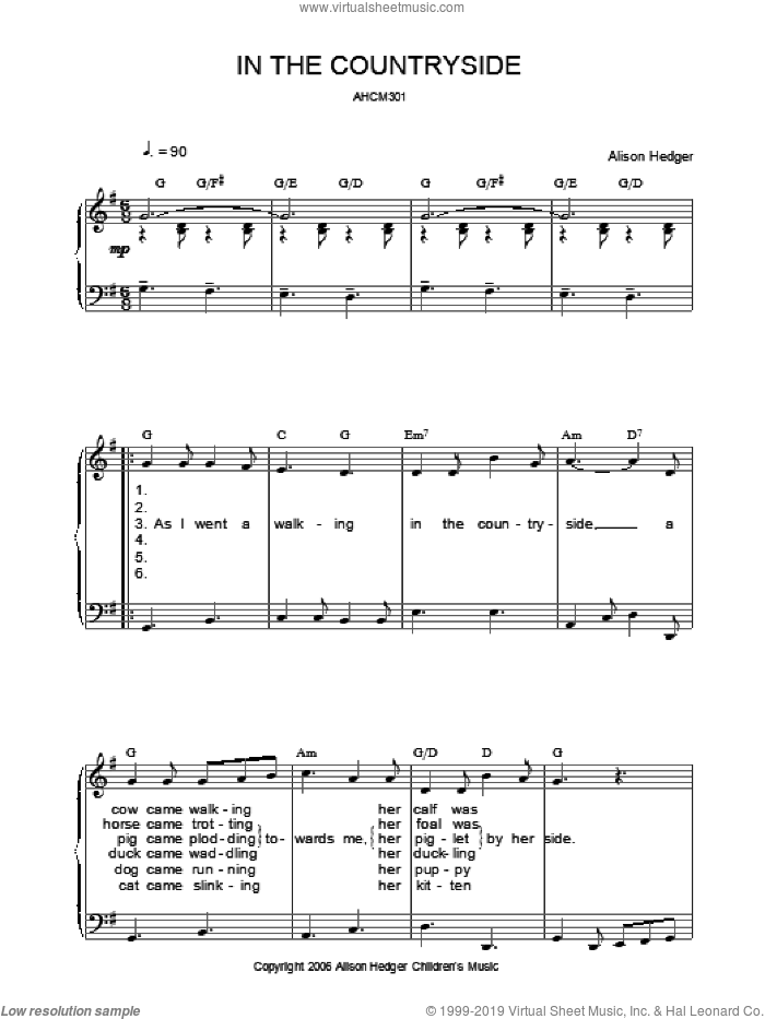 In The Countryside sheet music for voice, piano or guitar by Alison Hedger, intermediate skill level