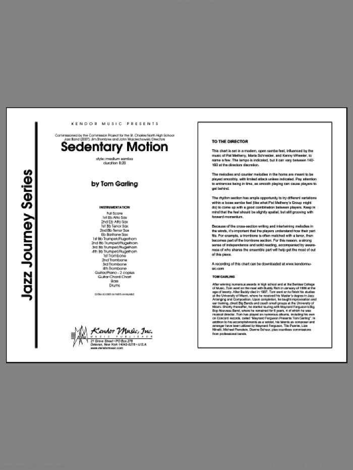 Sedentary Motion (COMPLETE) sheet music for jazz band by Tom Garling, intermediate. Score Image Preview.