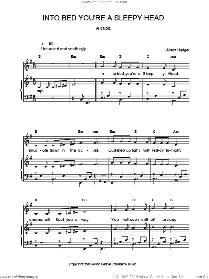 Into Bed, You're A Sleepy Head sheet music for voice, piano or guitar by Alison Hedger. Score Image Preview.