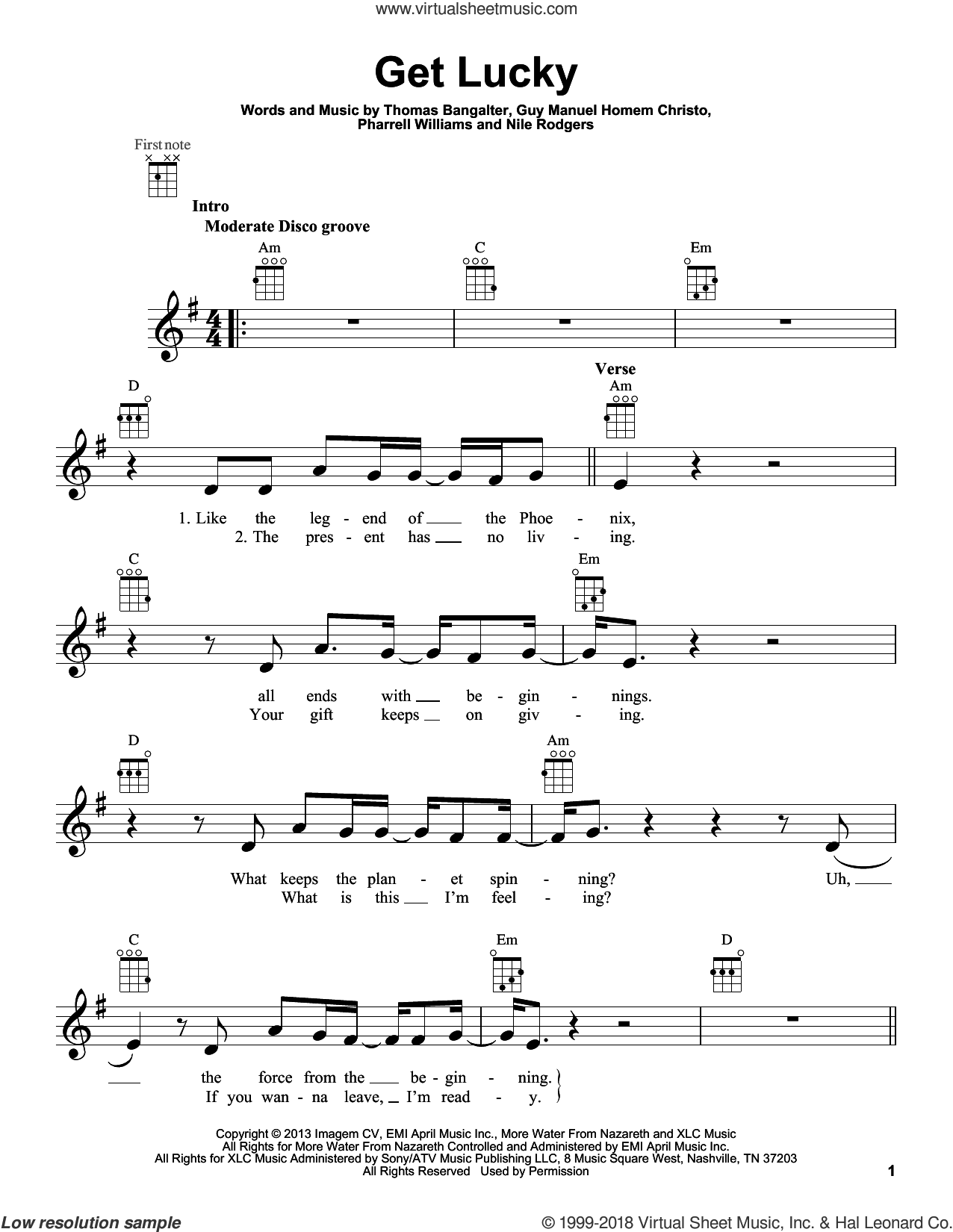 Get Lucky sheet music for ukulele by Daft Punk Featuring Pharrell Williams, Guy Manuel Homem Christo, Nile Rodgers, Pharrell Williams and Thomas Bangalter, intermediate