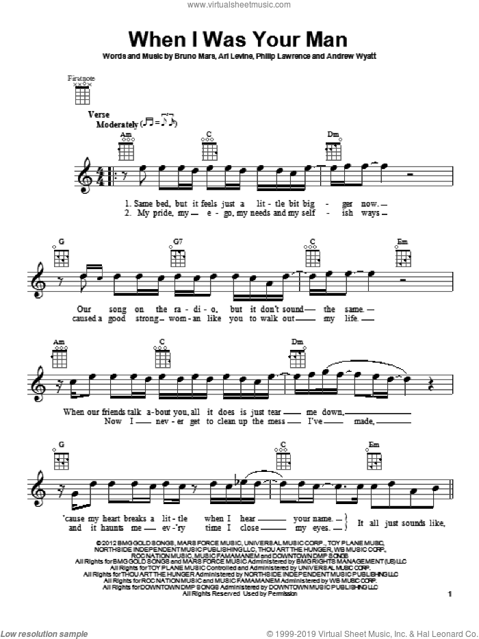 When I Was Your Man sheet music for ukulele by Philip Lawrence, Andrew Wyatt, Ari Levine and Bruno Mars. Score Image Preview.