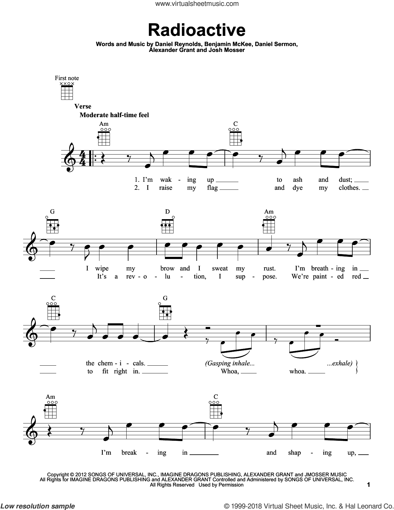 Radioactive sheet music for ukulele by Imagine Dragons, Alexander Grant, Benjamin McKee, Daniel Reynolds, Daniel Sermon and Josh Mosser, intermediate skill level