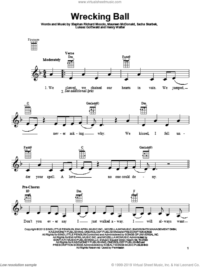 Wrecking Ball sheet music for ukulele by Miley Cyrus, Henry Walter, Lukasz Gottwald and Maureen McDonald. Score Image Preview.