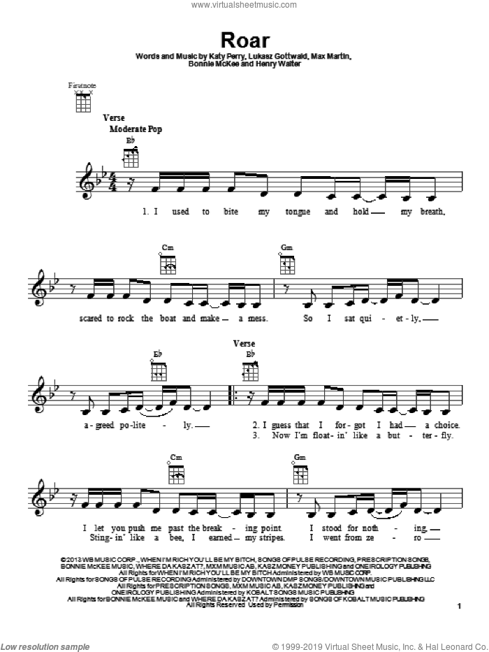 Roar sheet music for ukulele by Max Martin, Bonnie McKee, Henry Walter, Katy Perry and Lukasz Gottwald. Score Image Preview.