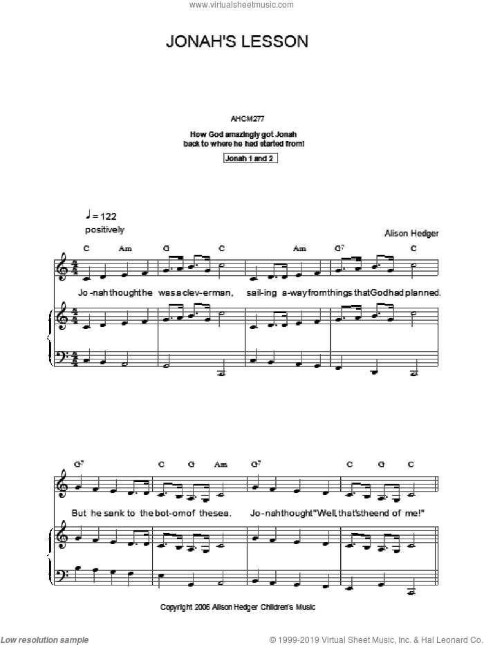 Jonah's Lesson sheet music for voice, piano or guitar by Alison Hedger, intermediate. Score Image Preview.
