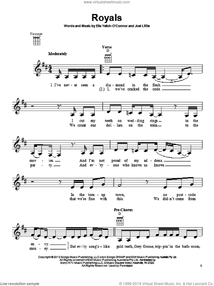 Royals sheet music for ukulele by Joel Little and Lorde. Score Image Preview.