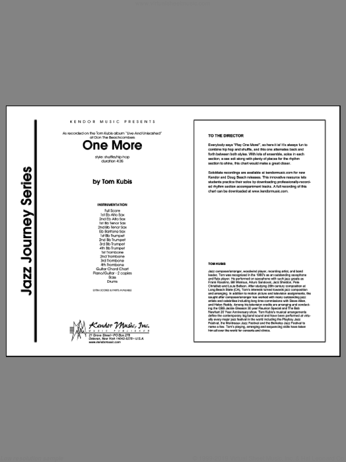 One More (COMPLETE) sheet music for jazz band by Tom Kubis, intermediate