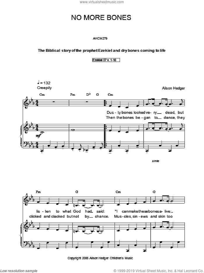 No More Bones sheet music for voice, piano or guitar by Alison Hedger, intermediate voice, piano or guitar. Score Image Preview.