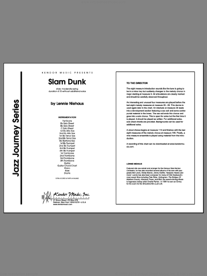 Slam Dunk (COMPLETE) sheet music for jazz band by Lennie Niehaus, intermediate jazz band. Score Image Preview.