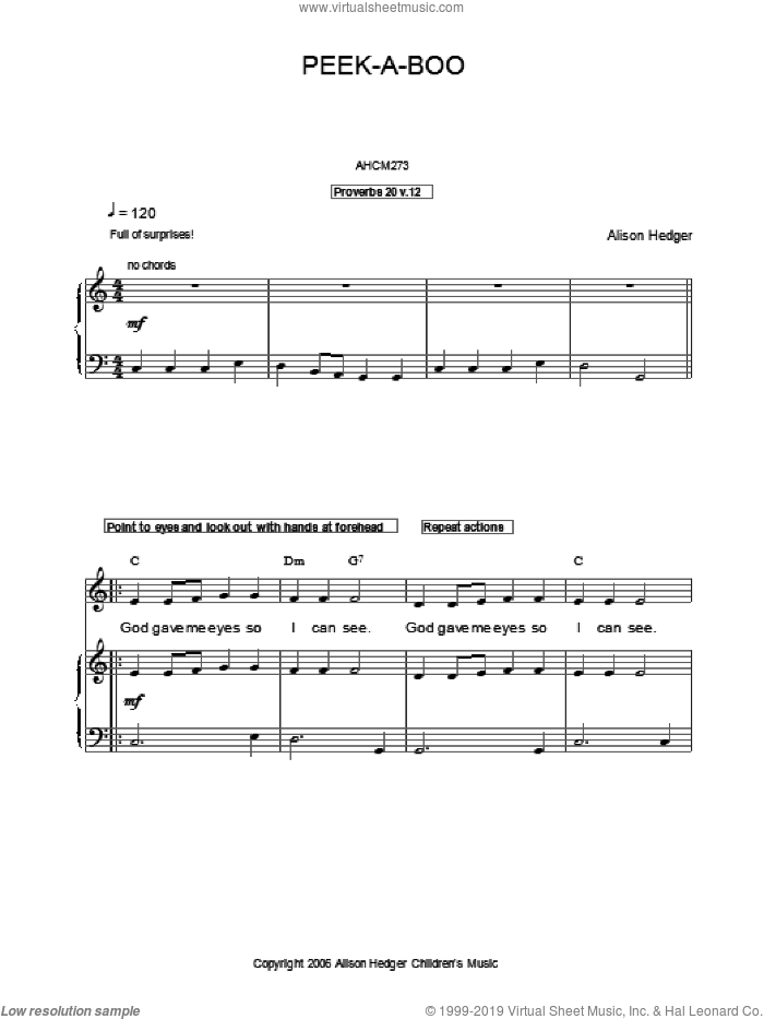 Peek-A-Boo sheet music for voice, piano or guitar by Alison Hedger. Score Image Preview.